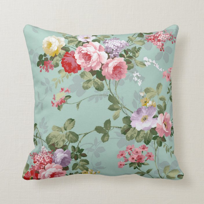 Vintage Elegant Pink Red Roses Pattern Throw Pillow Zazzle Com