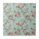 """Vintage Elegant Pink Red Roses Pattern Tile<br><div class=""""desc"""">Vintage cute girly colorful pink red and white roses .A elegant floral design on teal green background .The perfect romantic gift idea for her on any occasion</div>"""