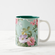 Vintage Elegant Pink Red Roses Pattern Two-Tone Coffee Mug