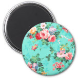 Vintage Elegant Pink Red Yellow Roses Pattern 2 Inch Round Magnet