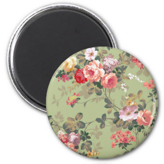 Vintage Elegant Pink Red Yellow Roses Pattern 2 Inch Round Magnet