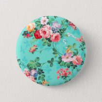 Vintage Elegant Pink Red Yellow Roses Pattern Button