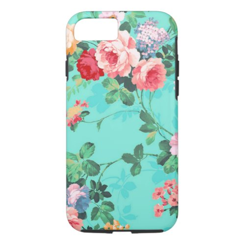 Vintage Elegant Pink Red Yellow Roses Pattern Phone Case