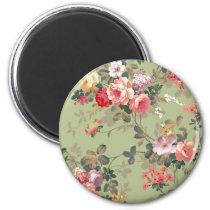 Vintage Elegant Pink Red Yellow Roses Pattern Magnet