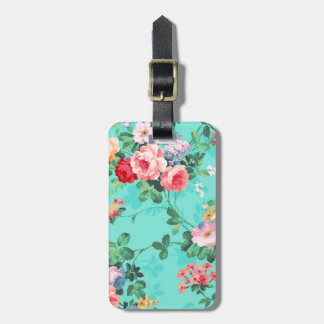 Vintage Elegant Pink Red Yellow Roses Pattern Tag For Luggage