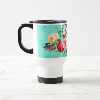 Vintage Elegant Pink Red Yellow Roses Pattern Travel Mug