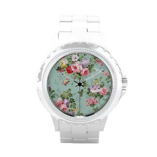 Vintage Elegant Pink Red Yellow Roses Pattern Wristwatches