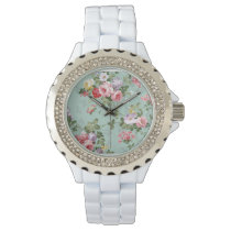 Vintage Elegant Pink Red Yellow Roses Pattern Watch