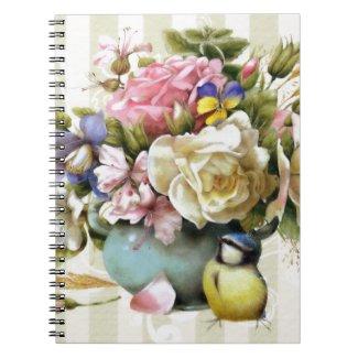 Vintage Elegant Pink Rose Flower Design Spiral   Note Book