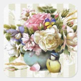 Vintage Elegant Pink Rose Flower Design Square Sticker