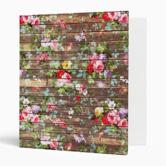 Vintage Elegant Pink Roses Brown Wood Photo Print 3 Ring Binder