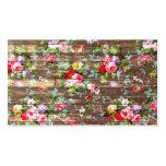 Vintage Elegant Pink Roses Brown Wood Photo Print Business Card