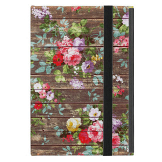 Vintage Elegant Pink Roses Brown Wood Photo Print Case For iPad Mini