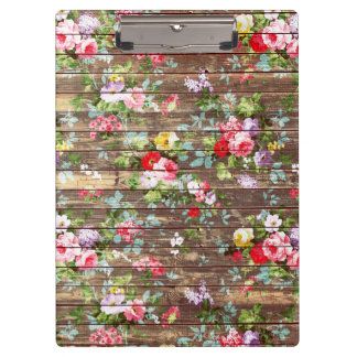 Vintage Elegant Pink Roses Brown Wood Photo Print Clipboard