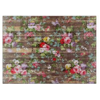 Vintage Elegant Pink Roses Brown Wood Photo Print Cutting Board
