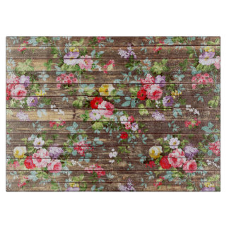 Vintage Elegant Pink Roses Brown Wood Photo Print Cutting Board
