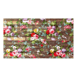 Vintage Elegant Pink Roses Brown Wood Photo Print Double-Sided Standard Business Cards (Pack Of 100)