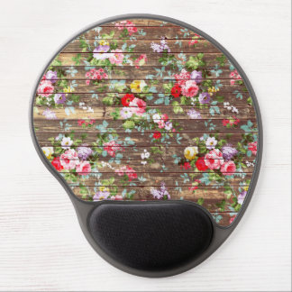 Vintage Elegant Pink Roses Brown Wood Photo Print Gel Mouse Pad