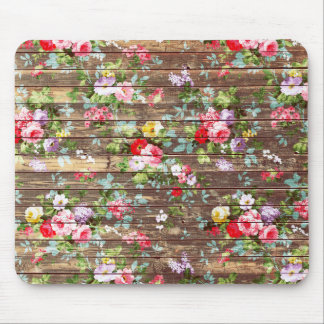Vintage Elegant Pink Roses Brown Wood Photo Print Mouse Pad