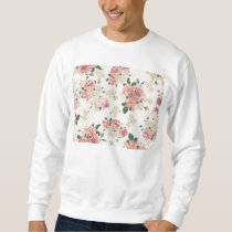 Vintage Elegant Pink Roses Pattern Sweatshirt