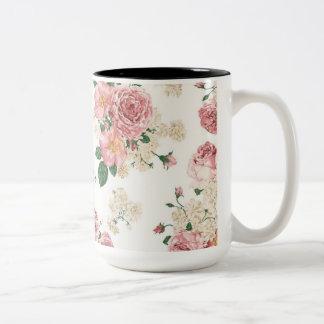 Vintage Elegant Pink Roses Pattern Two-Tone Coffee Mug