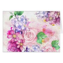 Vintage elegant pink watercolor trendy flowers