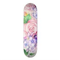 Vintage elegant pink watercolor trendy flowers skateboard
