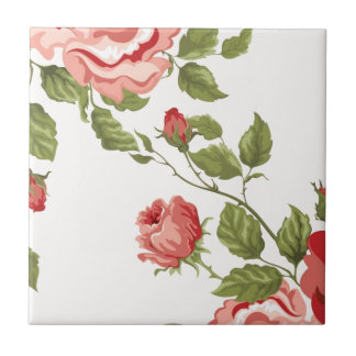 Vintage Elegant Pretty Pink Red Roses Pattern Ceramic Tile