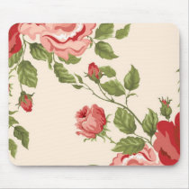 Vintage Elegant Pretty Pink Red Roses Pattern Mouse Pad
