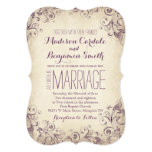 Vintage Elegant Purple Flourish Wedding Invitation