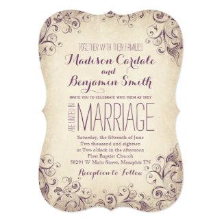 Vintage Elegant Purple Flourish Wedding Invitation