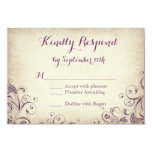 Vintage Elegant Purple Flourish Wedding RSVP Cards