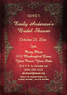 vintage elegant regal gold red bridal shower invitation