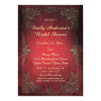 Vintage Elegant Regal Gold & Red Bridal Shower Invitation