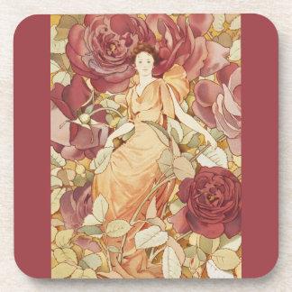 Vintage Elegant Rose Garden Auburn Fairy Fae Coaster