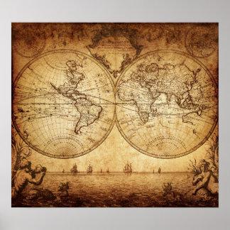 Vintage elegant rustic brownish world map poster
