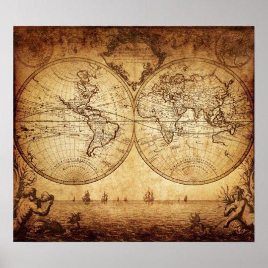 29cde5b30f87 Vintage elegant rustic brownish world map poster