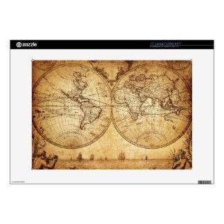 "Vintage,elegant,rustic globe, atlas map brownish 15"" laptop decal"