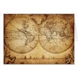 Vintage,elegant,rustic globe, atlas map brownish greeting card