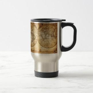 Vintage,elegant,rustic globe, atlas map brownish 15 oz stainless steel travel mug