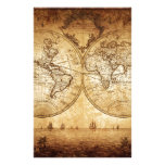 Vintage,elegant,rustic globe, atlas map brownish stationery design