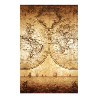 Vintage,elegant,rustic globe, atlas map brownish stationery