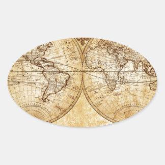 Vintage,elegant,rustic globe, atlas map brownish oval stickers