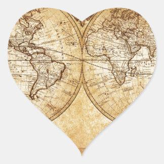 Vintage elegant rustic globe atlas map brownish sticker