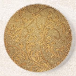 Vintage,elegant,rustic golden, victorian,velvet beverage coaster