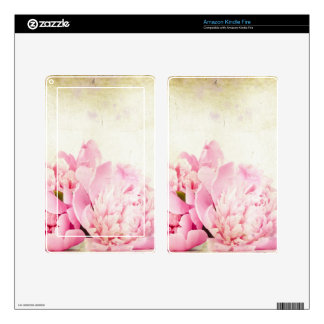 Vintage elegant rustic with pink floral bouquet decals for kindle fire