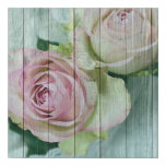 Vintage Elegant  Shabby Chic Pink Roses On Blue Faux Canvas Print