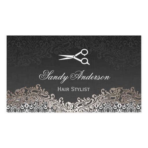 hair styling business cards vintage silver damask hair stylist 5820