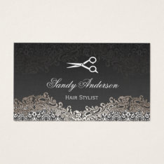 Vintage Elegant Silver Damask - Indie Hair Stylist Business Card at Zazzle
