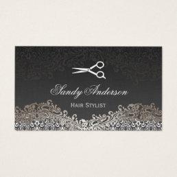 Vintage Elegant Silver Damask - Indie Hair Stylist Business Card